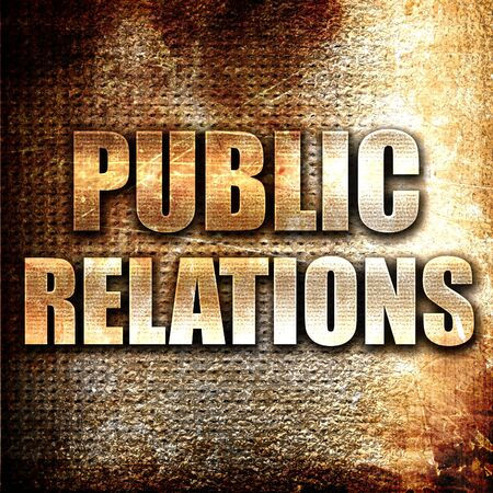relations: Grunge metal public relations Stock Photo