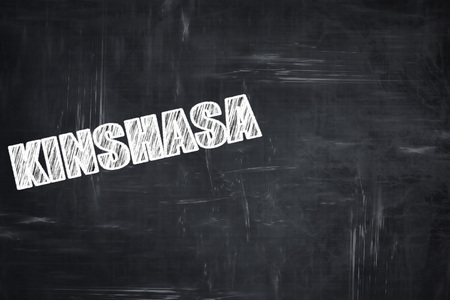 white letters: Chalkboard background with white letters: Chalkboard background with white letters: kinshasa Stock Photo