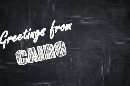 cairo: Chalkboard background with white letters: Chalkboard background with white letters: Greetings from cairo with some smooth lines Stock Photo