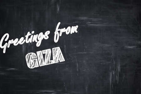 giza: Chalkboard background with white letters: Chalkboard background with white letters: Greetings from giza  with some soft smooth lines Stock Photo
