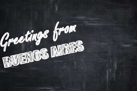 aires: Chalkboard background with white letters: Chalkboard background with white letters: Greetings from buenos aires with some smooth lines Stock Photo