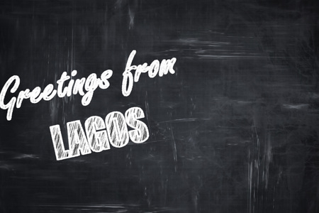 lagos: Chalkboard background with white letters: Chalkboard background with white letters: Greetings from lagos with some smooth lines