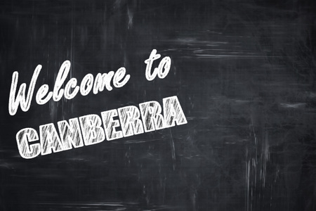 canberra: Chalkboard background with white letters: Chalkboard background with white letters: Welcome to canberra with some smooth lines