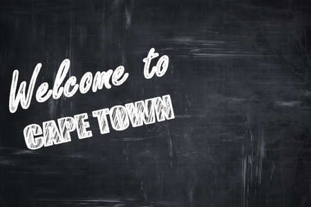 cape town: Chalkboard background with white letters: Chalkboard background with white letters: Welcome to cape town with some smooth lines