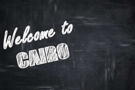 cairo: Chalkboard background with white letters: Chalkboard background with white letters: Welcome to cairo with some smooth lines Stock Photo