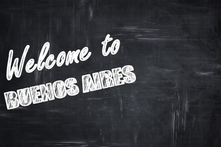 aires: Chalkboard background with white letters: Chalkboard background with white letters: Welcome to buenos aires with some smooth lines Stock Photo