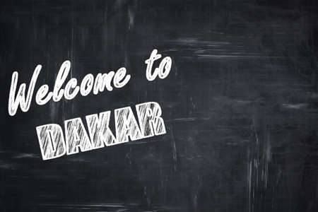 dakar: Chalkboard background with white letters: Chalkboard background with white letters: Welcome to dakar with some smooth lines