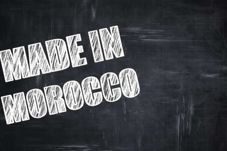 made in morocco: Chalkboard background with white letters: Chalkboard background with white letters: Made in morocco with some soft smooth lines