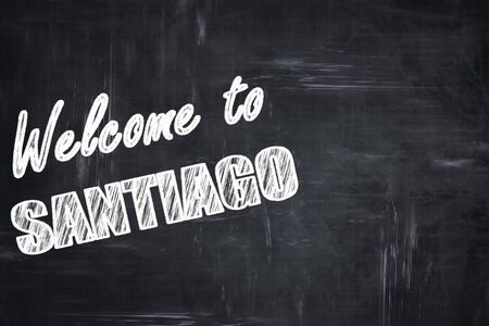 santiago: Chalkboard background with white letters: Chalkboard background with white letters: Welcome to santiago with some soft smooth lines Stock Photo
