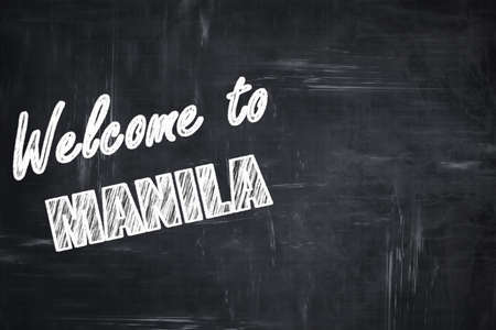 manila: Chalkboard background with white letters: Chalkboard background with white letters: Welcome to manila with some smooth lines