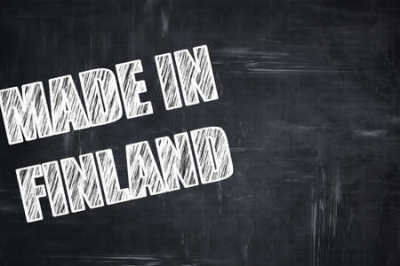 made in finland: Chalkboard background with white letters: Chalkboard background with white letters: Made in finland with some soft smooth lines