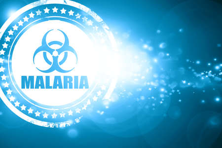 malaria: Glittering blue stamp: malaria concept background with some soft smooth lines