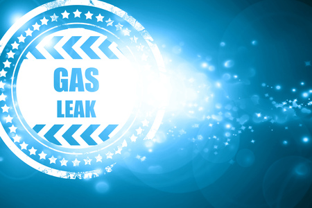 leak: Glittering blue stamp: Gas leak background with some smooth lines
