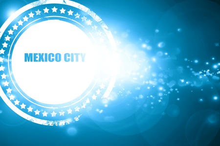 custom letters: Glittering blue stamp: mexico city