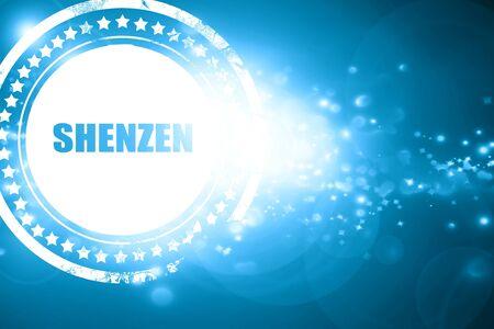 custom letters: Glittering blue stamp: shenzen Stock Photo