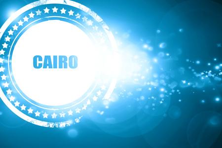 cairo: Glittering blue stamp: cairo