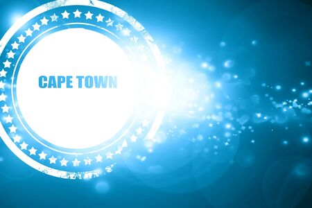 cape town: Glittering blue stamp: cape town