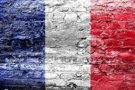 french culture: France flag with some soft highlights and folds Stock Photo