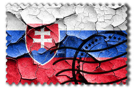 broken unity: Postal stamp: Grunge Slovakia flag with some cracks and vintage look Stock Photo