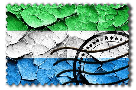 postal stamp: Postal stamp: Grunge Sierra Leone flag with some cracks and vintage look Stock Photo