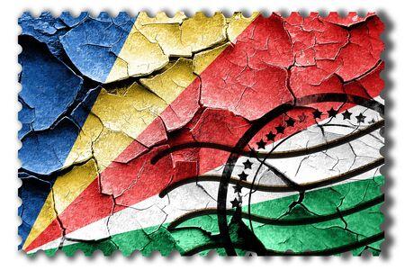 postal stamp: Postal stamp: Grunge seychelles flag with some cracks and vintage look Stock Photo