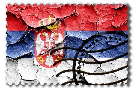 serbia flag: Postal stamp: Grunge Serbia flag with some cracks and vintage look