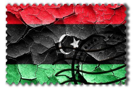 vintage look: Postal stamp: Grunge Libya flag with some cracks and vintage look Stock Photo