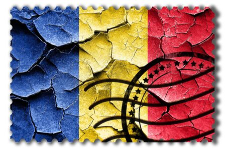 postal stamp: Postal stamp: Grunge Romania flag with some cracks and vintage look Stock Photo