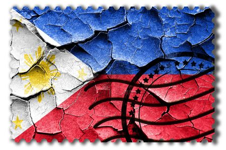 postal stamp: Postal stamp: Grunge Philippines flag with some cracks and vintage look Stock Photo