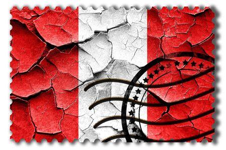 postal stamp: Postal stamp: Grunge Peru flag with some cracks and vintage look Stock Photo