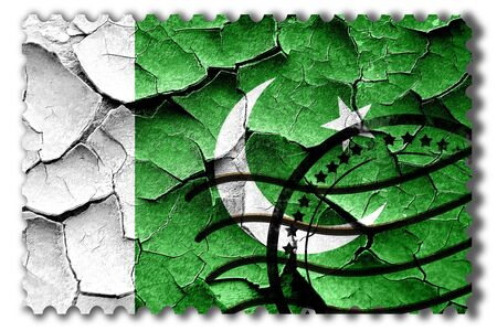 pakistani: Postal stamp: Grunge Pakistan flag with some cracks and vintage look