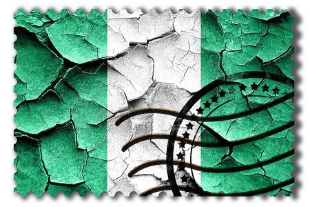 postal stamp: Postal stamp: Grunge Nigeria flag with some cracks and vintage look