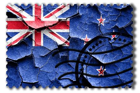 postal stamp: Postal stamp: Grunge New zeeland flag with some cracks and vintage look