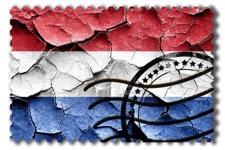 postal stamp: Postal stamp: Grunge Netherlands flag with some cracks and vintage look Stock Photo