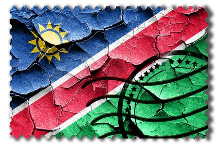 Postal stamp: Grunge Namibian flag with some cracks and vintage look Stock Photo