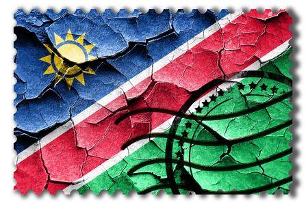 vintage look: Postal stamp: Grunge Namibian flag with some cracks and vintage look Stock Photo