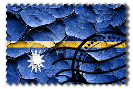 vintage look: Postal stamp: Grunge Nauru flag with some cracks and vintage look