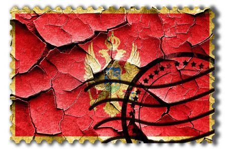 postal stamp: Postal stamp: Grunge Montenegro flag with some cracks and vintage look Stock Photo