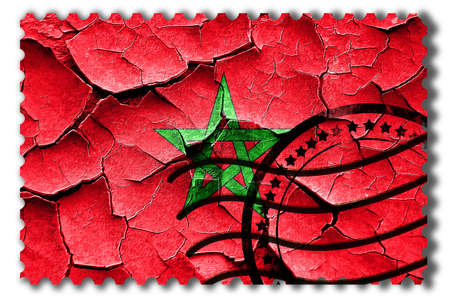 postal stamp: Postal stamp: Grunge Morocco flag with some cracks and vintage look Stock Photo