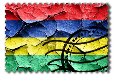 postal stamp: Postal stamp: Grunge Mauritius flag with some cracks and vintage look