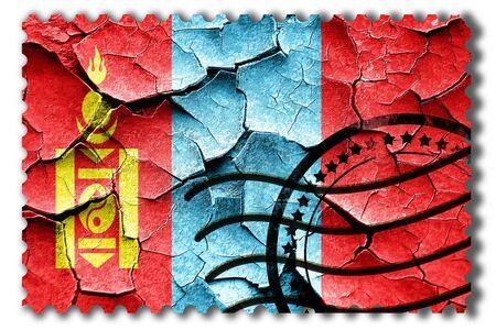 postal stamp: Postal stamp: Grunge Mongolia flag with some cracks and vintage look Stock Photo