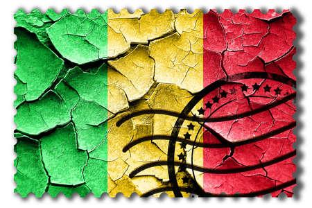 cracks: Postal stamp: Grunge Mali flag with some cracks and vintage look Stock Photo