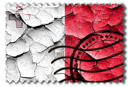 postal stamp: Postal stamp: Grunge Malta flag with some cracks and vintage look