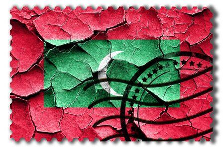 postal stamp: Postal stamp: Grunge Maldives flag with some cracks and vintage look