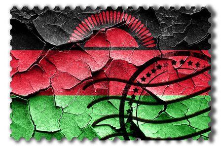 postal stamp: Postal stamp: Grunge Malawi flag with some cracks and vintage look
