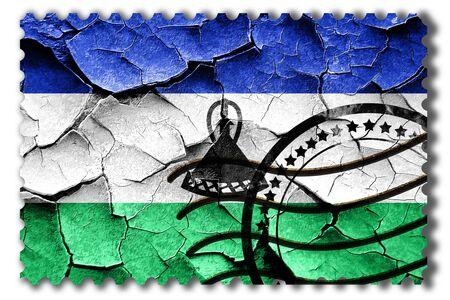 postal stamp: Postal stamp: Grunge Lesotho flag with some cracks and vintage look