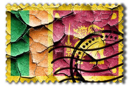 postal stamp: Postal stamp: Grunge Sri Lanka flag with some cracks and vintage look