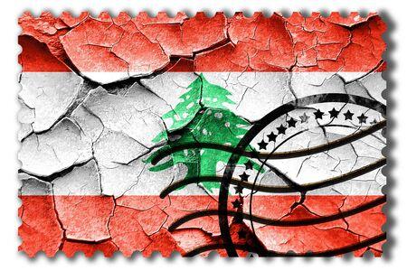 Postal stamp: Grunge Lebanon flag with some cracks and vintage look