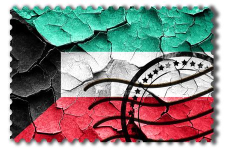 postal stamp: Postal stamp: Grunge Kuwait flag with some cracks and vintage look