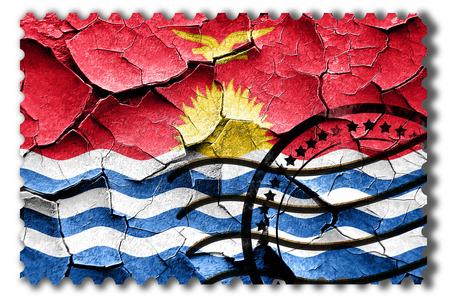 vintage look: Postal stamp: Grunge Kiribati flag with some cracks and vintage look